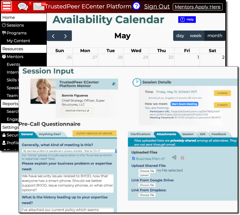 Availability Calendar and Session Input